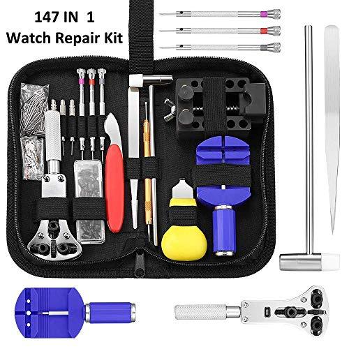 Kaisi Reloj de reparación de herramientas, kit relojero destornillador herramienta Profesional de reparación de relojes s Barra de Resorte Pin Link Removedor conjunto