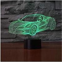 3Dイリュージョンナイトライトフェスティバルクールな3DスポーツカーLEDUSBランプの雰囲気RGB3Dナイトライトカラフルな子供のおもちゃ寝室のデスクテーブルライトギフトの 装飾ギフトとして