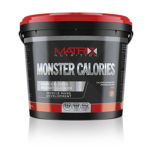 Matrix Nutrition Monster Calories Weight Gain Powder Meal Replacement Shake 4KG (Strawberry)