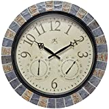 Infinity Instruments Inca II 18 inch Outdoor Clock Thermometer Combo Patio Waterproof Large Wall Weather Station Weatherproof Designer Faux Stone Mosaic Decorative Outdoor Wall Clock