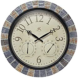 Infinity Instruments Inca II 18 inch Outdoor Clock Thermometer Combo Patio Waterproof Large Wall Weather Station Weatherproof Designer Stone Mosaic Decorative Outdoor Wall Clock