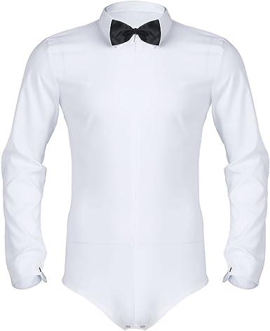 Freebily Camisa Manga Larga Blanca/Negra Slim Fit para ...