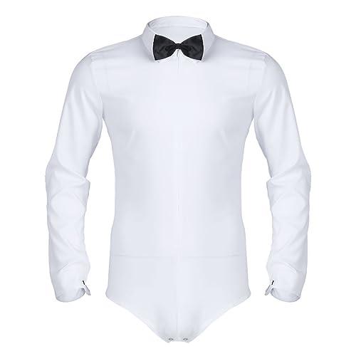 29b7e3ae4 FEESHOW Men's Long Sleeve Zipper Modern Dance Shirt One-piece Romper  Bodysuit