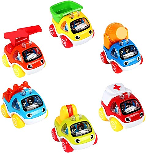 LUKAT Friction Powered Cars, Pull Back Vehicles Push and Go Toy Trucks for 1 2 3...