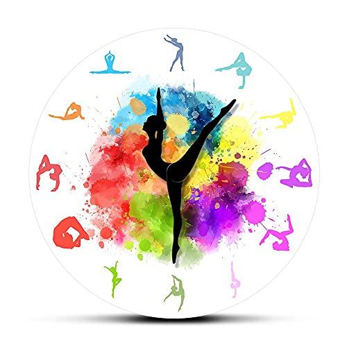 30cm Gimnasia Chicas Deportes Decoración para el hogar Gimnasta Reloj en movimiento Colorido Reloj de pared impreso Manos Reloj de pared decorativo para la habitación de las niñas Regalo del día de