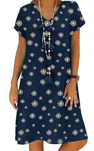Yidarton Sommerkleid Leinen Kleider Damen V-Ausschnitt Strandkleider Einfarbig A-Linie Kleid Boho Knielang Kleid Ohne Zubehör (Zv/Dunkelblau, M)