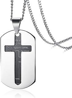 Vnox Etiqueta Perro Cruzada del Acero Inoxidable de los Hombres Versace del Señor de la Biblia del Inglés Collar Pendiente,Cadena Libre