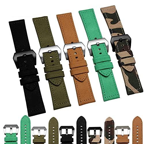XKMY Correas de reloj de lona + correa de cuero genuino para relojes PAM111 serie 441, correa de reloj de camuflaje negro de 24 mm (color de la correa: negro, ancho de la correa: 24 mm cierre negro)