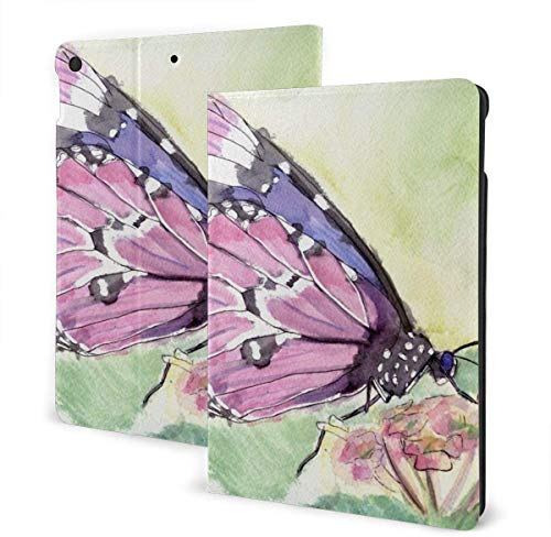 Water Surface Under The Sun Case for New IPad 7th Generation 10.2 Inch 2019 Multi-Angle Viewing Folio Smart Stand Cover Auto Wake/Sleep for IPad 10.2' Tablet-Watercolor Butterfly-One Size