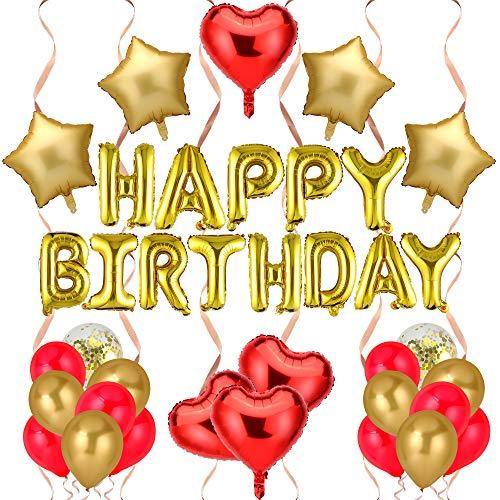 Jiaer Sentai Geburtstagsdeko,Gold Happy Birthday Girlande,Gold Fünfzackiger&Rot Herz Helium Luftballons,Konfetti-Ballon,Rot Gold Luftballons,für deko Geburtstag Hochzeit Verlobung & Valentinstag