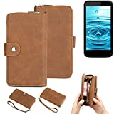 K-S-Trade® Handy-Schutz-Hülle Für Energizer H500S Portemonnee Tasche Wallet-Case Bookstyle-Etui Braun (1x)