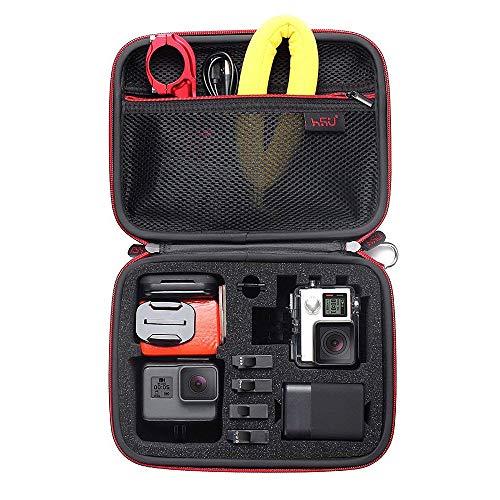 HSU Schutztasche Tragetasche (Mittlere) - Neuer Tasche Case für GoPro Hero 8/2018/7/6/5/4 / 3+ & Zubehör, mit Tragegriff & Karabiner Loop