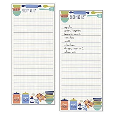 Set of 2- Kitchen Design List Pad, Notepad, Shopping List with Attachable Magnet