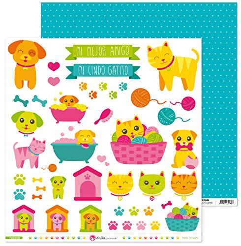 Anita y Su Mundo Colección Mascotas Papeles de Scrapbooking, Paper, Recortables, 30.5 x 30.5 cm