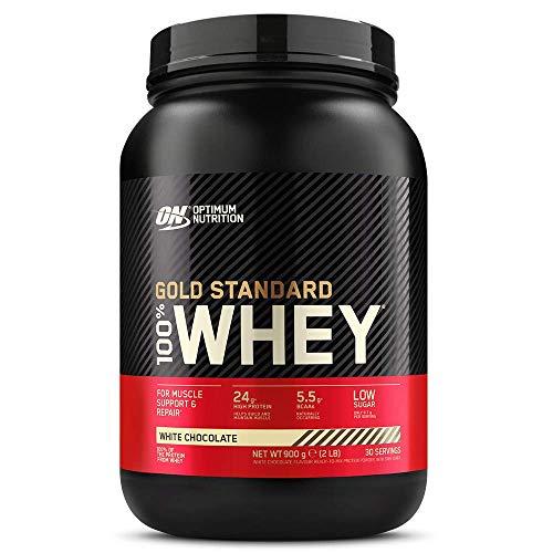 Optimum Nutrition Gold Standard 100% Whey Protéine en Poudre avec Whey Isolate, Proteines Musculation Prise de Masse, Chocolat Blanc, 30 Portions, 0.9kg, l'Emballage Peut Varier