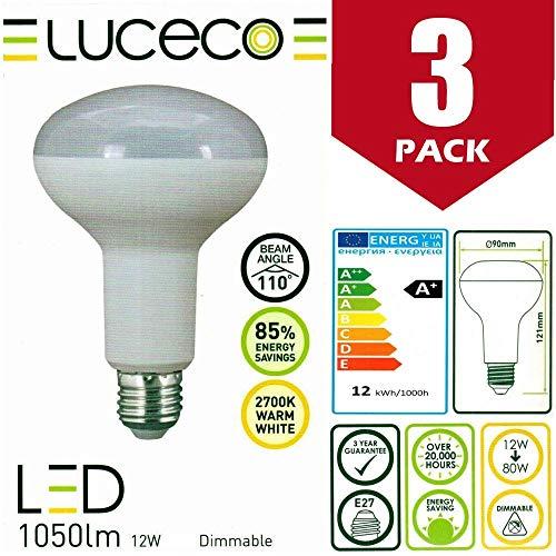 Luceco - 3 bombillas LED de 12 W (80 W, casquillo E27, intensidad regulable, casquillo E27, 1050 lúmenes, 2700 K, luz blanca cálida, clase energética A+]
