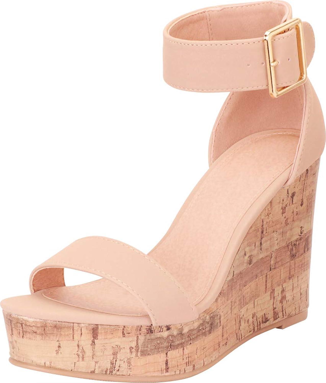 Cambridge Select Women's Ankle Strap Chunky Platform High Wedge Sandal