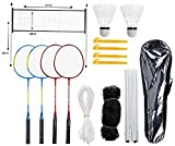 hook.s Ensemble de Badminton Complet à 4 Joueurs avec Filet pour Jardin Ensemble de Badminton Complet pour Enfants