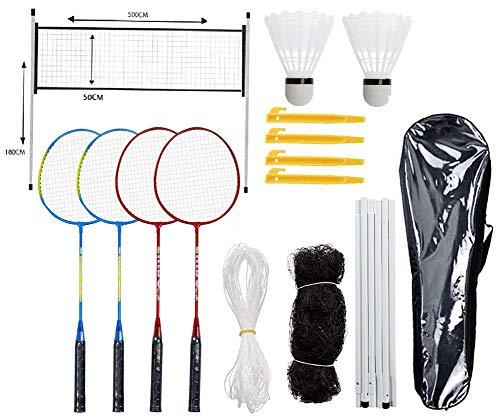 hook.s Neues 4-Spieler-Badminton-Set mit Netz für den Garten Einfache Einrichtung Komplettes Badminton-Set für Kinder Kinder Familie