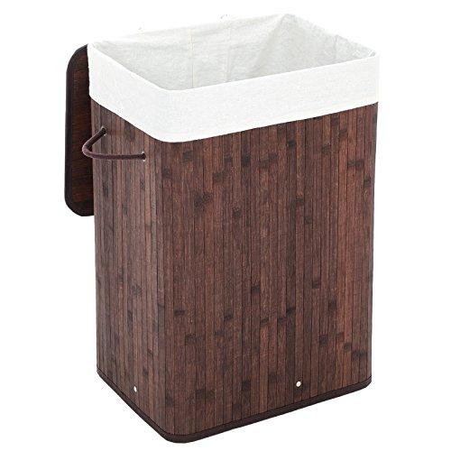 SONGMICS Wäschekorb aus Bambus, Faltbarer Wäschesammler mit Deckel und herausnehmbarem Wäschesack aus Baumwolle, 72 L Wäschebox, Wäschetruhe, 40 x 60 x 30 cm, braun, LCB10Z
