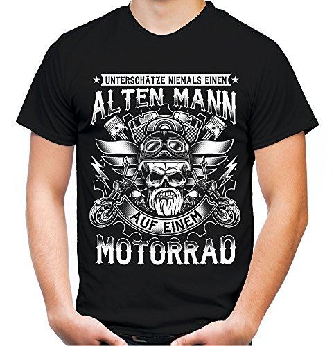 Alter Mann Motorrad Männer und Herren T-Shirt | Vintage Biker Rocker Chopper ||| (3XL, Schwarz)