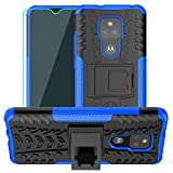 Moto G Play 2021 Case,Motorola G Play Case,with HD Screen Protector,SKTGSLAMY [Shockproof] Tough Rugged Dual Layer Protective Case Hybrid Kickstand Cover for Motorola Moto G Play 2021 (Blue)