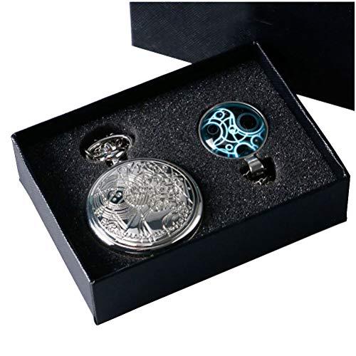 Yisuya, orologio da tasca con catena e ciondolo, stile retrò, argento, Doctor Who