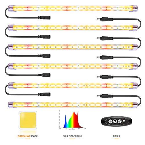 Led Pflanzenlampe Samsung&Full Spectrum 3500&Rote LED-Streifen mit Timer 3/6/12 Stunden Doppelkanal 4 Helligkeitsstufe führte pflanzenlicht für Zimmerpflanzen Gartenarbeit (126 LEDs)