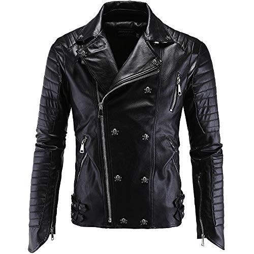 X&Armanis Harley Lederjacke, Herren Revers Reißverschluss Lederjacke Motorrad-Punkjacke,XL