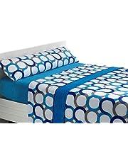 SABANALIA Juego de sábanas de coralina Aros - Cama 135, Azul