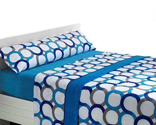 Sabanalia – Set di lenzuola in flanella, per letto da 135 cm, colore: blu