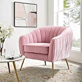Altrobene Velvet Accent Chair, Modern Arm Chair for Living Room Bedroom Home Office with Gold Finished Legs, Blush Pink