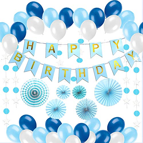 Happy Birthday Decorations Blue For Men and Women, 90pcs All-in-One Bday Party Decor Supplies Set with Banner, Star & Polka Paper Garland, Pom Pom Fans, Balloons & Inflator