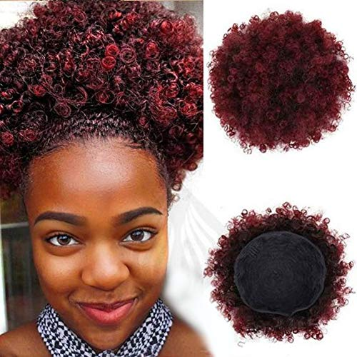 High Puff Afro Red Drawstring Ponytail Short Afro Kinky Curly Pony Tail Clip in on Synthetic Curly Hair Bun Made of Kanekalon Fiber Puff Ponytail Wrap Updo Hair Extensions with Clips