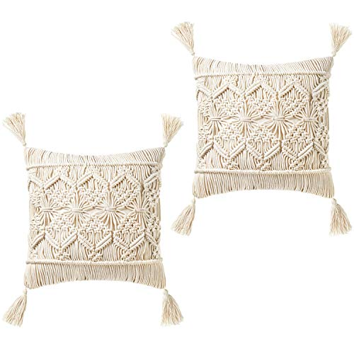 Mkono Throw Pillow Cover Tassel Macrame Cushion Case (Pillow Inserts Not Included) Set of 2 Decorative Pillowcase for Bed Sofa Couch Bench Car Boho Home Decor,17 Inches