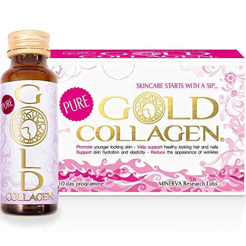 GOLD COLLAGEN® Pure 10 Tage - Bekämpfen Sie frühe Zeichen des Alterns und nähren Sie sich von innen heraus. Verbessert den natürlichen Kollagen-, Elastin- und Feuchtigkeitsspiegel - hydrolysiertes Kollagen, Hyaluronsäure, Borretschöl