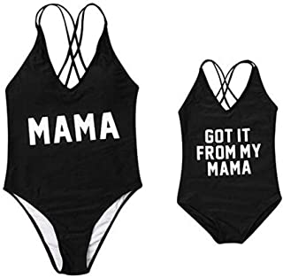 a84bf0236915a Mother Girl Swimwear Swimsuit Mommy and Me Matching One Piece Beach Wear  Bathing Suit Family Letters
