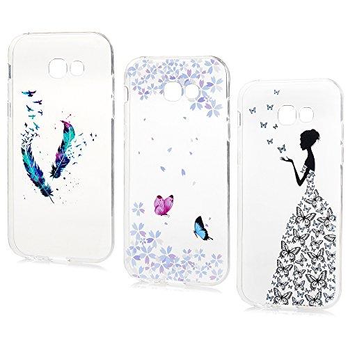 Lanveni Lot de 3 pour Samsung Galaxy A5 2017 Coque Phone Case de Protection en TPU Souple Ciselé Dessin Coloré Flexible Cover Antichoc - Pluem+Fleur+Fille