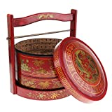 HomeDecTime 1 Unid Coleccionable Decorativo Antiguo Chino Comida Caja 2 Capas Recipiente Plato