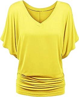 4b96779a5a026 Baijiaye Femme Tee Top Grande Taille Manche Courte T-Shirt Collier V Manches  Chauve-