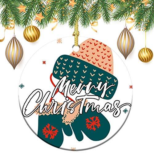 None-brands Ornamento monograma de corona de adorno de árbol de Navidad, adorno personalizado 2020, adorno de gorro y guantes, regalo de Navidad, Navidad, recuerdo plano redondo