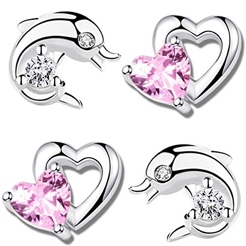2 x orecchini per bambini, in vero argento Sterling 925, con zirconi, a forma di cuore, delfino e Argento, colore: Delfin K619 + cuore K710, cod. 2er_DHB