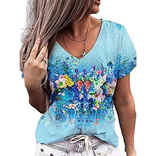 Elesoon Camiseta de verano para mujer, talla grande, diseño floral de la bandera de EE. UU, A-azul, 50
