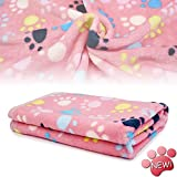 KIWITATA Puppy Dog Blanket Warm Dog Cat Fleece Sleep Blankets Pet Mat Bed Cover with Paw Print Soft for Kitties Puppies and All Small Animals