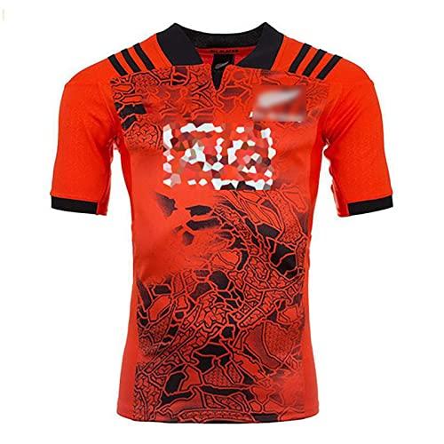 Speed-SY Camiseta De Rugby, Copa del Mundo 2017-2018 Nueva Zelanda Rugby All Blacks Uniformes del Equipo Ropa Deportiva De Visitante Polo para Hombre