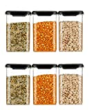 The Containers Themselves Are Intelligently Designed To Be Clear, So That You Can See What The Contents Are. Perfect Kitchen Storage Container Set Freezer Safe. Cereal Dispenser Square Shape Storage Jar And Container 1100 ml, Idle for Kitchen- Storag...