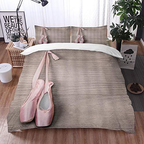 Juego de Fundas de edredón,Zapatillas de Ballet Zapatos de Punta Rosa Que cuelgan en el Tablero de Madera Madera,Fundas Edredón 220 x 240 cmcon 1 Funda de Almohada 40x75cm
