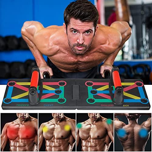 Tinzzi Push Up Board, 12 in 1 Faltbare Liegestützbrett Brett mit Handgriff, Push Up Rack Board, Push-Up-Brett für Muskeltraining Effektiv Formen
