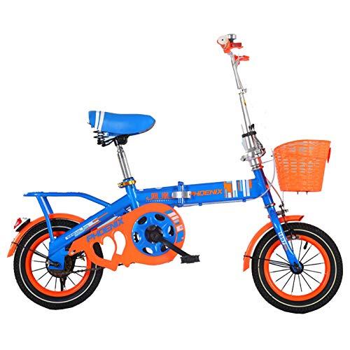Axdwfd Infantiles Bicicletas 12'Bicicleta para niños, Adecuada para niñas y niños de 2 a 5 años, con Ruedas de Entrenamiento y Freno de Mano. (Color : Blue)