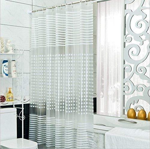 Diossad Duschvorhang Transparent Wasserdichter Schimmelresistent Lange Länge PEVA Badvorhang Inklusive 12 Weißen Vorhangringen 180 × 200cm